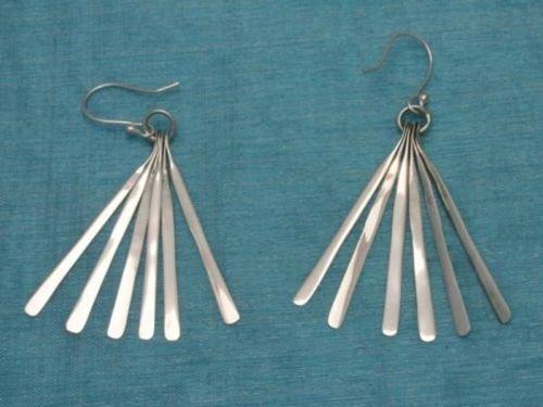 Sterling Silver Long Dangle Earrings .925 Taxco Mexico
