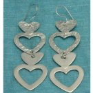 Sterling Silver 4 Hearts Dangle Earrings .925 Taxco