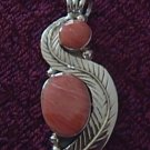 Sterling Silver Leaf Deco Rose Inlay Pendant Taxco .925