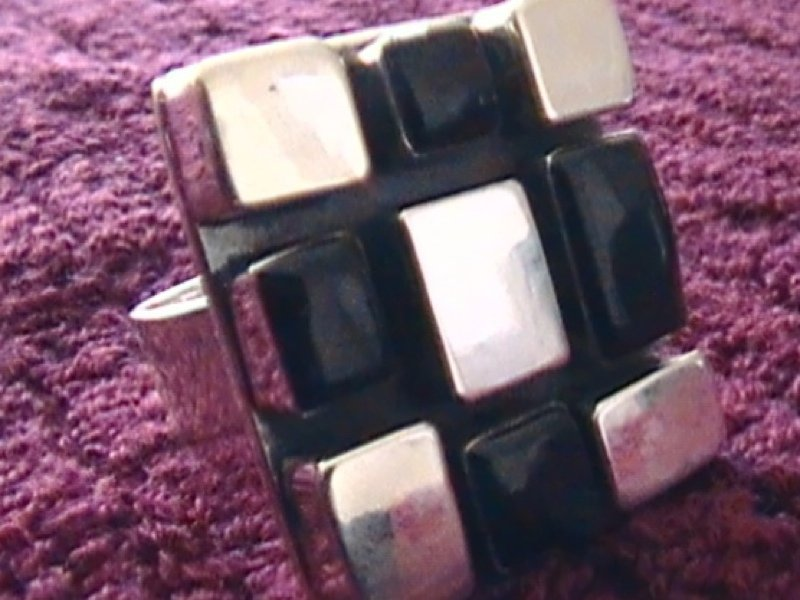 Sterling Silver Black & Silver Mosaic Ring Taxco .925
