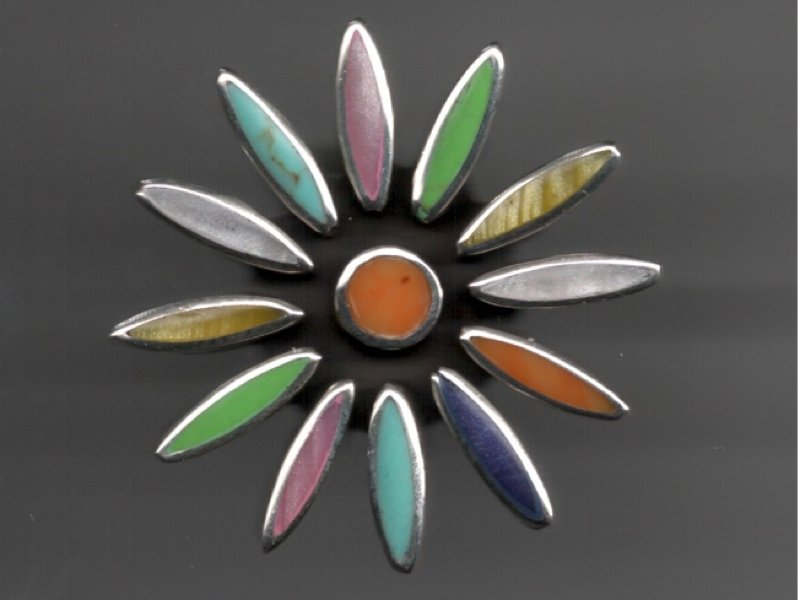Mexican Sterling SIlver Multi Color Inlay Floral Ring
