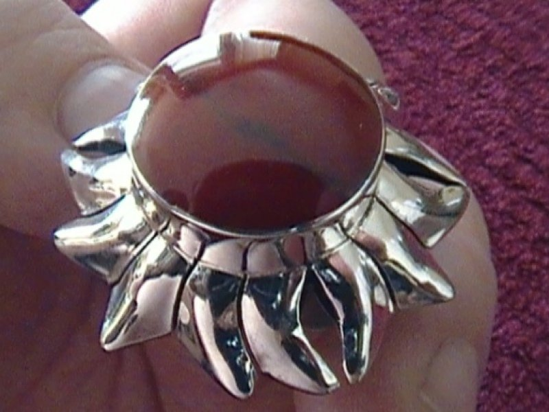 Sterling Silver Ring With Red Inlay Floral Deco Mexico