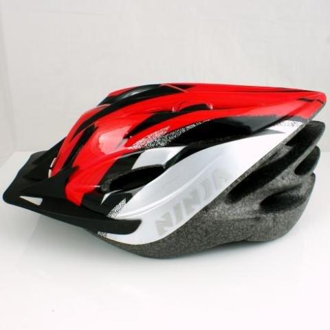 Ninja Brand Adult Bike Road Cycling Helmet - Red Black & Silver Color