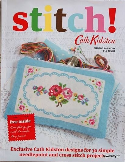 Cath Kidston 'Stitch' Book Purse Printed Fabric Pieces