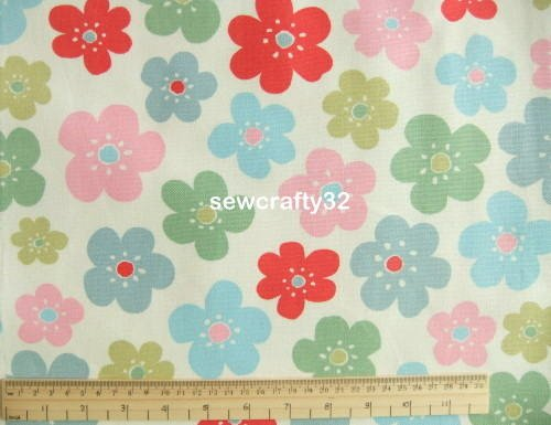 Flowers White FQ ~ Cath Kidston Cotton Duck Fabric