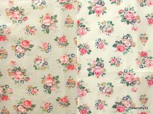 Brair Rose White FQ ~ Cath Kidston Cotton Duck Fabric
