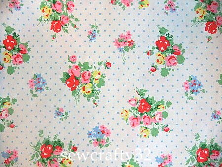 Pastel Flowers White 1 M ~ Cath Kidston Cotton Duck Fabric