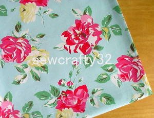 Box Floral Aqua FQ ~ Cath Kidston Cotton Duck Fabric