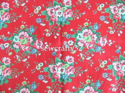 Folk Flowers Red FQ ~ Cath Kidston Cotton Duck Fabric