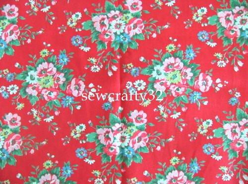 Folk Flowers Red 1M ~ Cath Kidston Cotton Duck Fabric