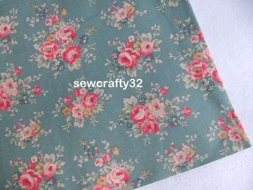 Bunch Rose Blue 1M ~ Cath Kidston Cotton Duck Fabric