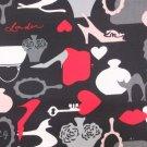 Icon Black Lulu Guiness Cotton Twill Fabric ~ 1 M