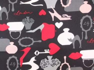 Icon Black Lulu Guiness Cotton Twill Fabric ~ 1 M