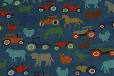 Tractor & Farmyard Blue Cotton Duck 1 M ~ Cath Kidston
