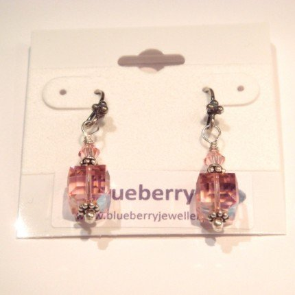 Pretty in Pink Swarovski Cubes and Bali Silver Earrings