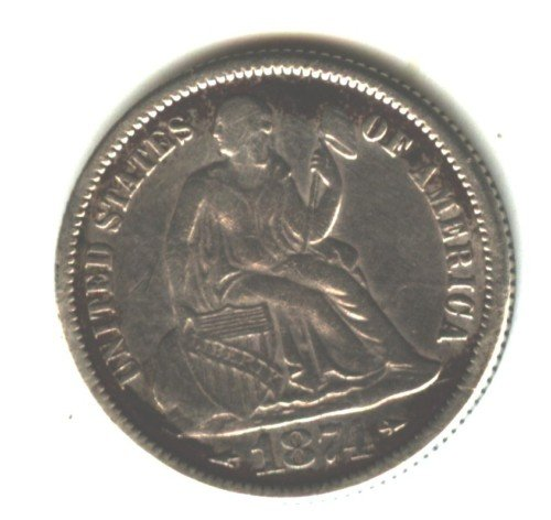 1874 (VF) SEATED LIBERTY DIME (EB1548) SILVER