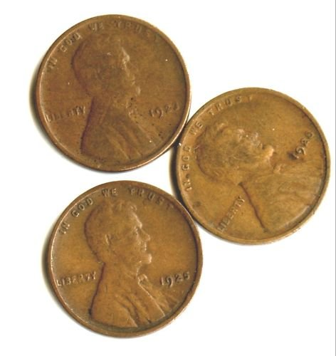 1923,1925,1928  LINCOLN PENNIES (EB1418) 3 COINS