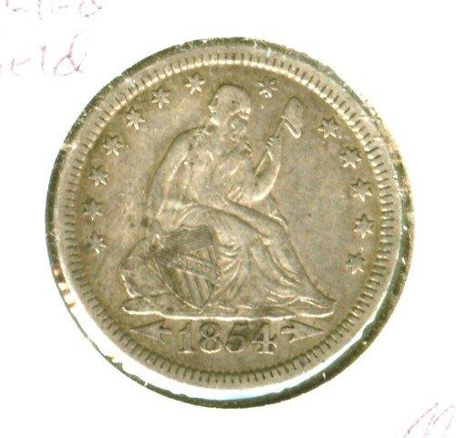 1854 (XF) SEATED LIBERTY QUARTER (M09)