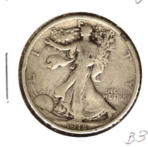 1918 (VF) WALKING LIBERTY HALF DOLLAR (B34)