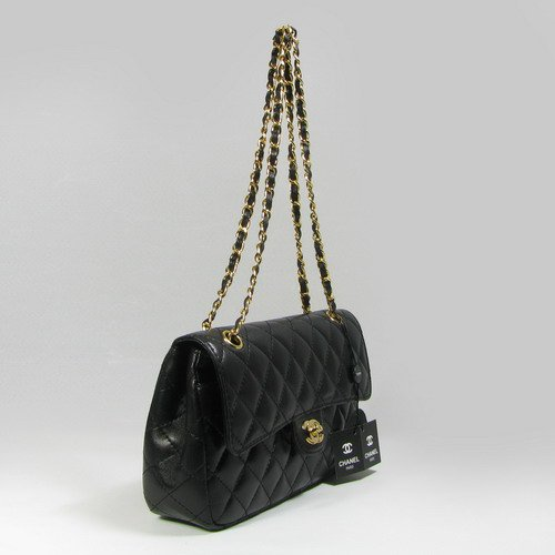 Classic Quilted Flap Bag in Genuine Black Leather