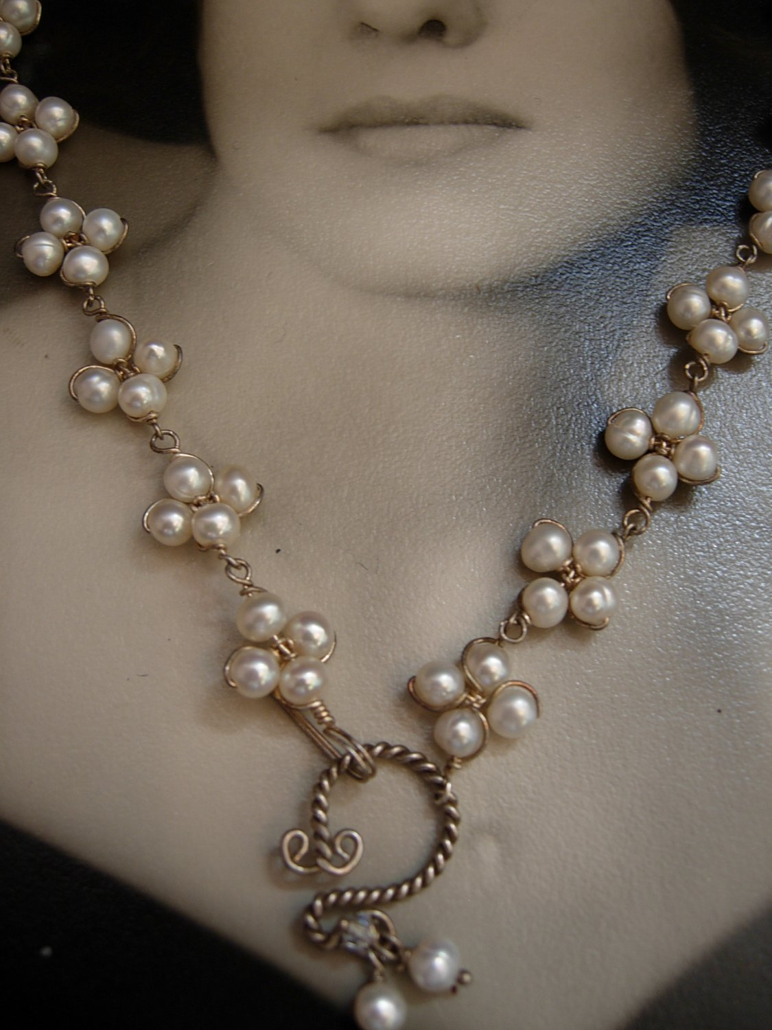 Cluster White Pearl Clover Necklace