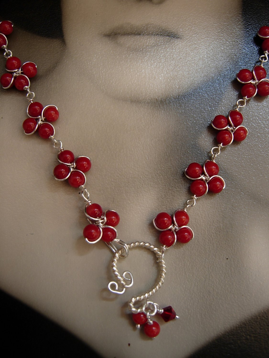 Cluster Red Coral Clover Necklace
