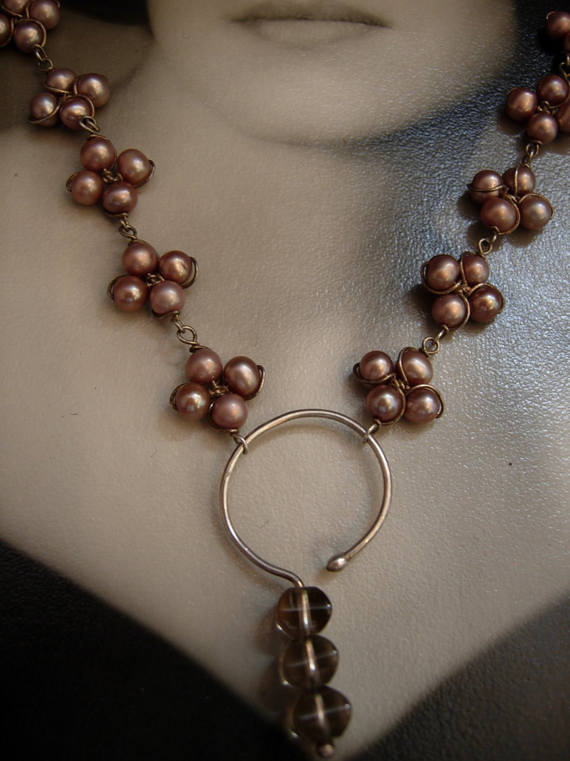 Cluster Chocolate Pearl Clover Necklace
