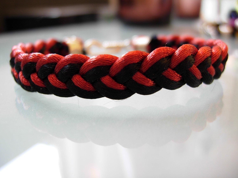 Braided Bracelet-Black/Rust