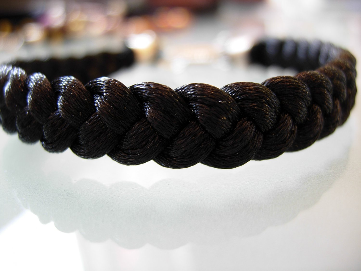 Braided Bracelet-Black Satin