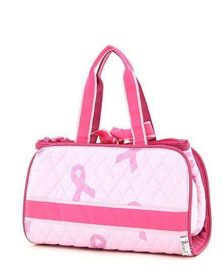 QUILTED PINK RIBBON PRINT 3PC COSMETIC BAG