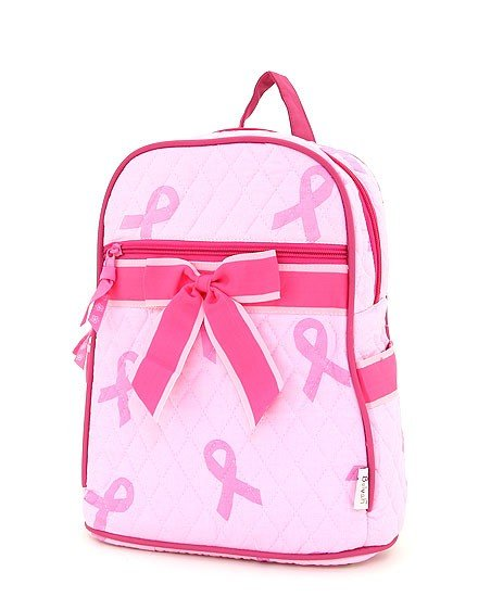 QUILTED PINK RIBBON PRINT MEDIUM ZIPPERED BACKPACK