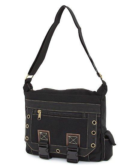 SOLID PATTERN MESSENGER BAG  (BLACK)