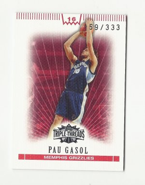 Pau Gasol 2008 Topps Triple Threads Serial Numbered Card Memphis Grizzlies