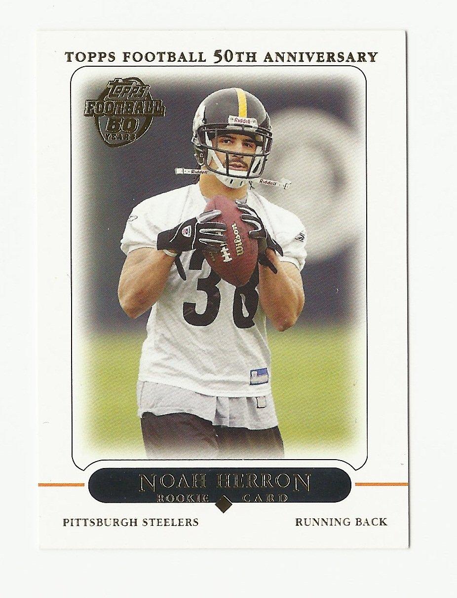 Noah Herron 2005 Topps 50th Anniversary Rookie Card #379 Pittsburgh Steelers