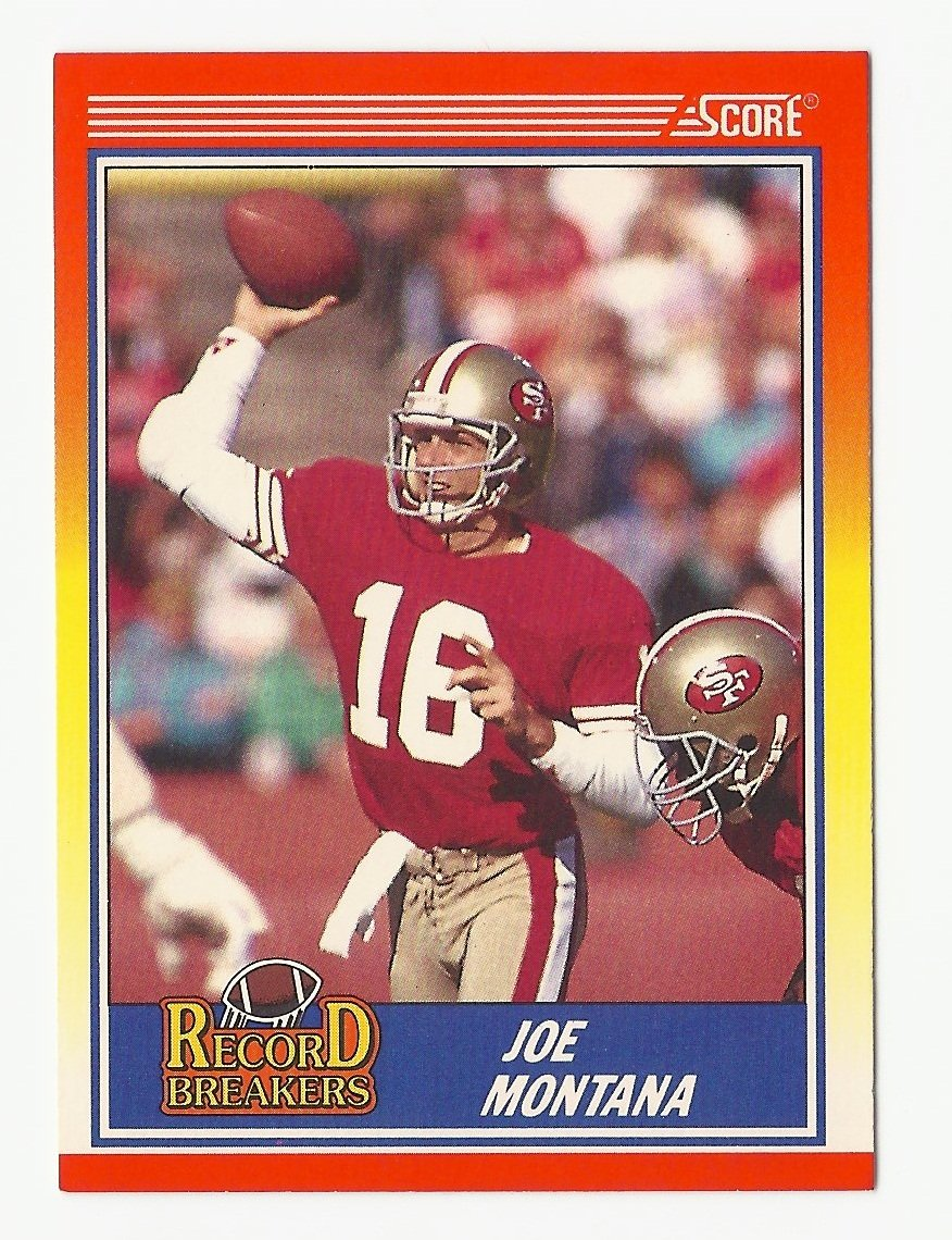 Joe Montana 1990 Score Record Breakers Single Card #594 San Francisco 49ers