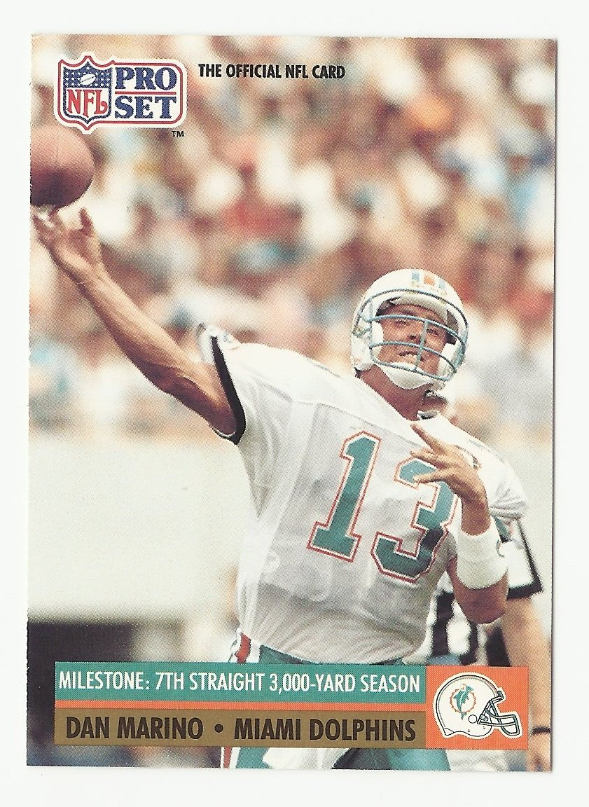Dan Marino 1991 Pro Set Milestone Single Card #25 Miami Dolphins
