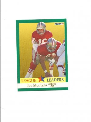 Joe Montana 1991 Fleer League Leaders Card #408 San Francisco 49ers