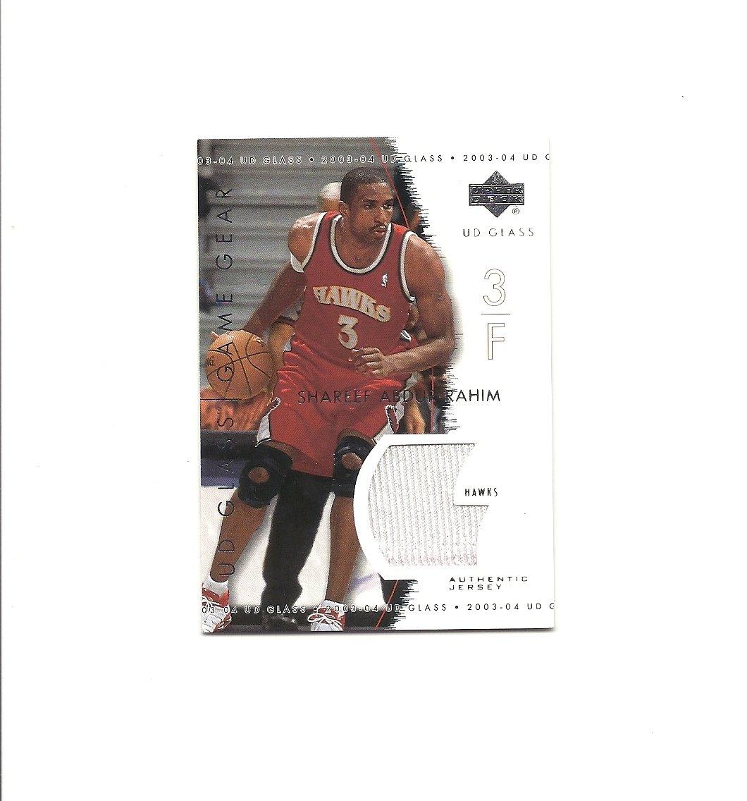 Shareef Abdur-Rahim 2003-04 UD Glass Game Gear #GG-SA Atlanta Hawks