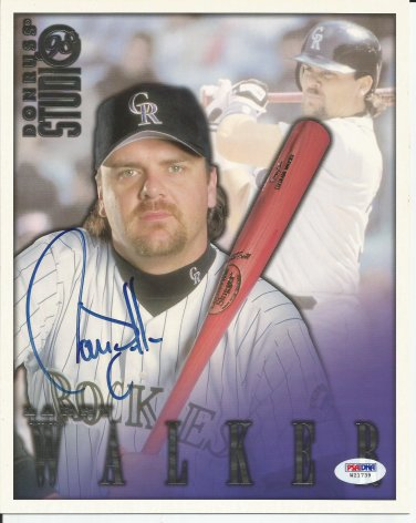 Larry Walker Autographed 1998 Donruss Studio 8x10 Colorado Rockies PSA/DNA Certification # W21739