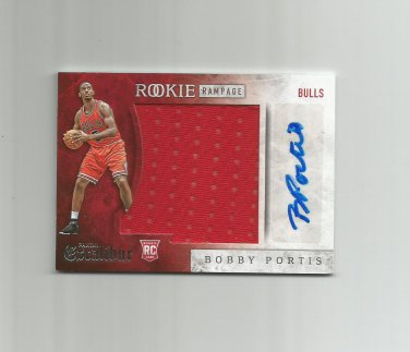 Bobby Portis 2015-16 Panini Excalibur Rookie Rampage Autographed Jumbo Patch #RRBPT Chicago Bulls