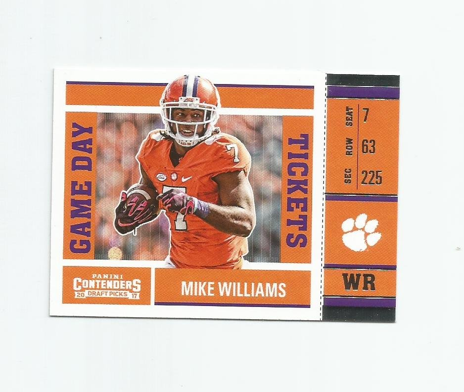 Mike Williams 2017 Panini Contenders Draft Game Day Tickets Rookie Insert #9 Los Angeles Chargers