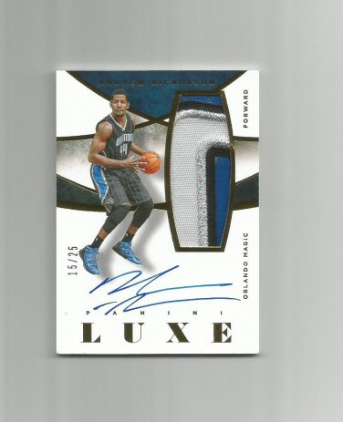Andrew Nicholson 2014-15 Panini Luxe Patch Autograph #MAN (15/25) Orlando Magic