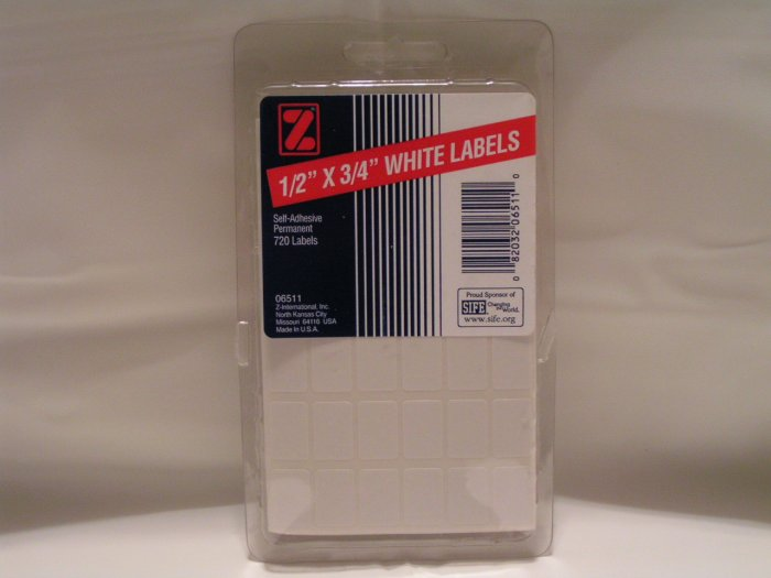 "Z-INTERNATIONAL 1/2""x3/4"" WHITE LABELS - FREE SHIPPING"