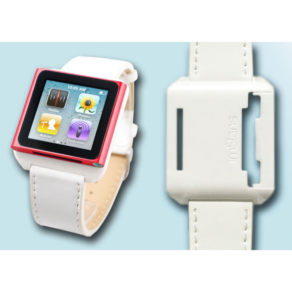 imStans watch band for iPod Nano 6 -white leather strap