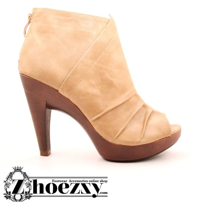 zhoezzy.com Yellow Leather Wooden Heel Shoe