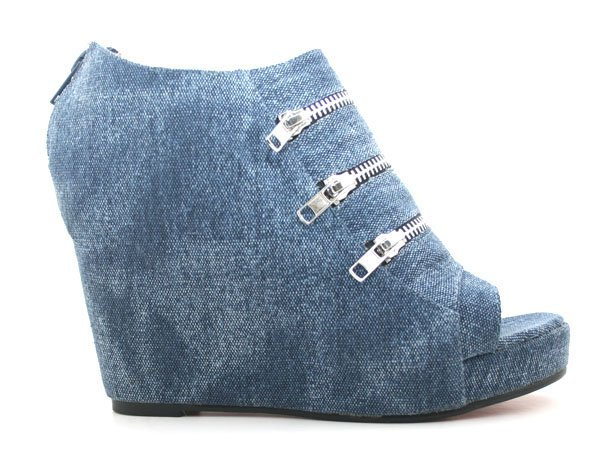 zhoezzy.com Denim Zipper Detail Platform Shoe