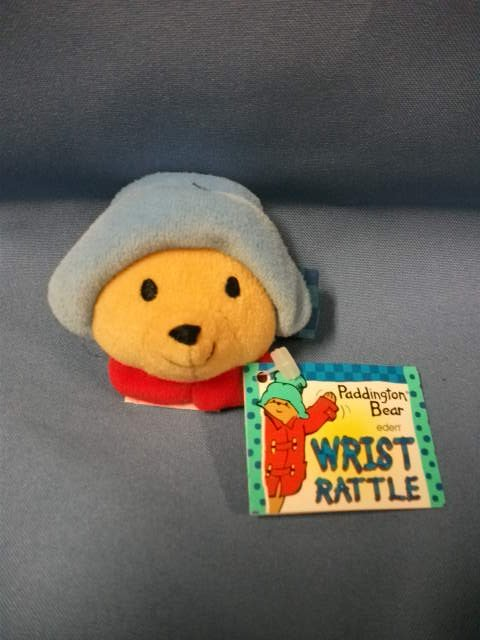 "Paddington Bear Soft 2"" Baby Plush Wrist Rattle Eden Toys 1997 Blue Hat"