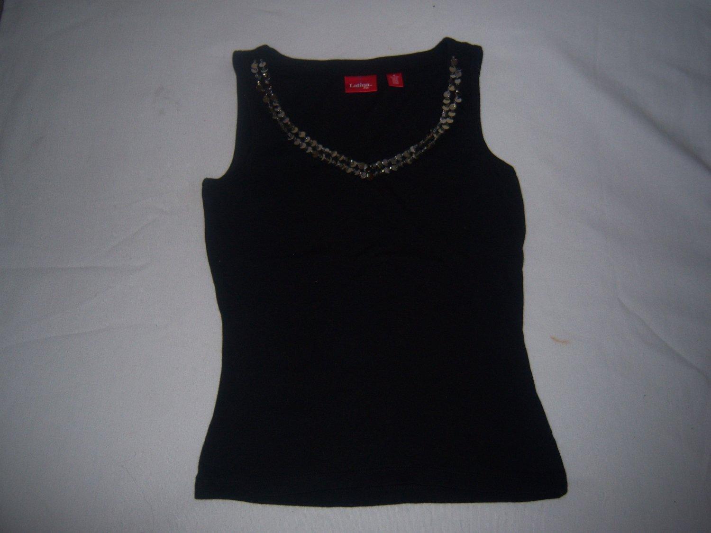 Latina Life Women's Black  & Silver Sleeveless Shirt Size XS