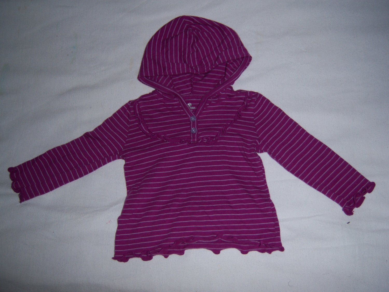 OLD NAVY INFANY BABY GIRLS PURPLE HOODIE SHIRT 6-12 MONTHS