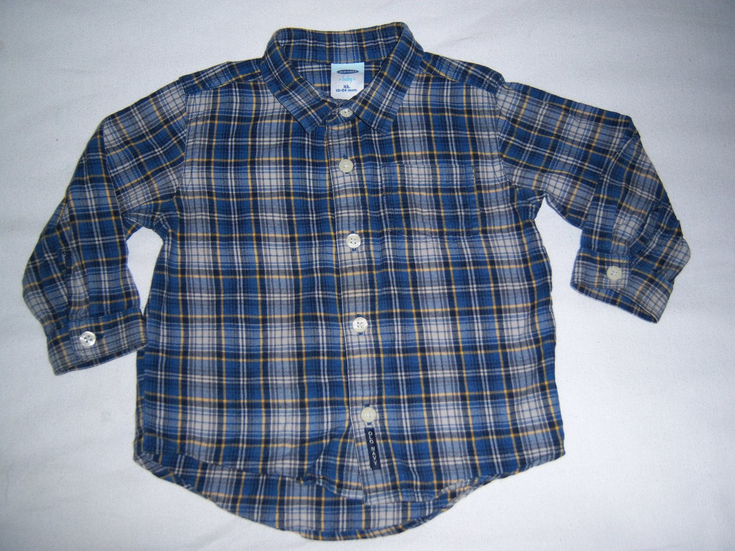 OLD NAVY LITTLE BOYS BLUE PLAID SHIRT SIZE 18-24 MONTHS